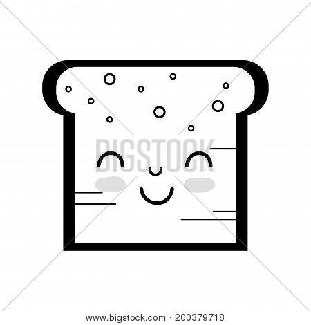 contour kawaii cute tender bread nutrition vector illustration
