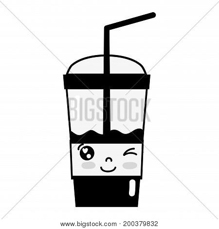 contour kawaii cute funny smoothie drink vector illustration