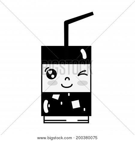 contour kawaii cute funny drink beverage vector illustration