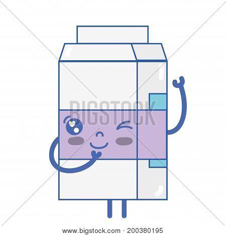 kawaii cute funny milk box vector illustration