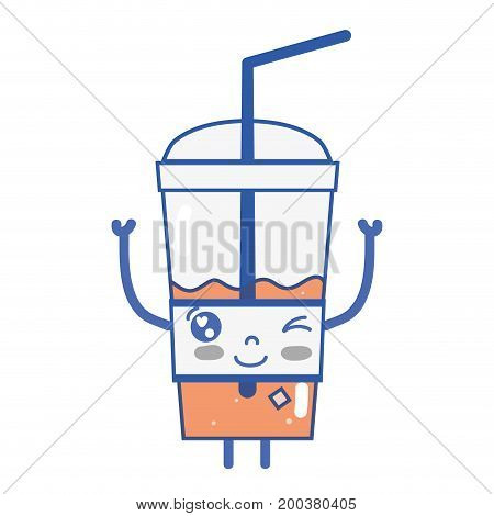kawaii cute funny smoothie drink vector illustration