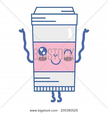 kawaii cute funny coffe plastic cup vector illustration
