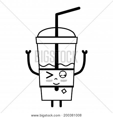line kawaii cute funny smoothie drink vector illustration
