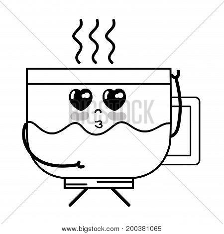 line kawaii cute tender coffee cup vector illustration