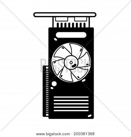 contour technology hard drive fan processor vector illustration