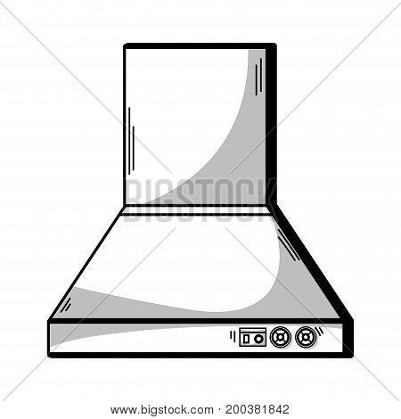 line technology odor extractor kitchen utensil vector illustration