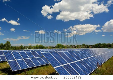 Solar Panel Energy Farm on a Sunny Day