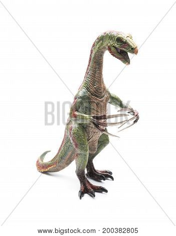 a nothronychus toy on a white background