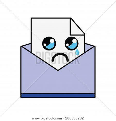 kawaii cute crying file message vector illustration