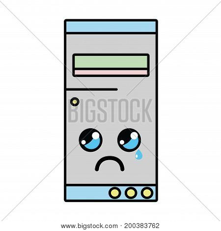 kawaii cute crying hard drive vector illustration