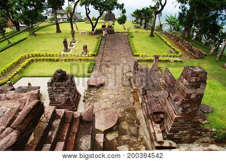 View from the top of Sukuh Temple, Java, Indonesia