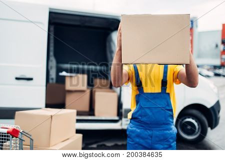 Worker holds carton box, distribution business