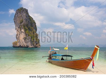 Traditional thai longtail boat at Poda island Thailand