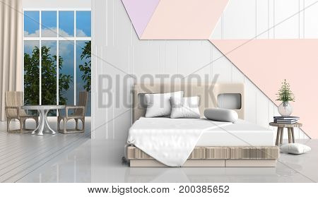 Pastel color bed room is decorated with  bed, wood chair, tree in glass vase, white pillows, Blue book, white and orange cement wall it is grid pattern,window and the white cement floor. 3d render.