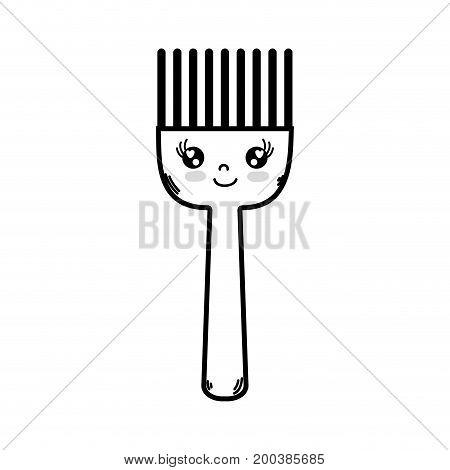 line kawaii cute happy kitchen utensil vector illustration