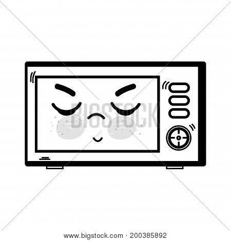 line kawaii cute angry microwaves technology vector illustration