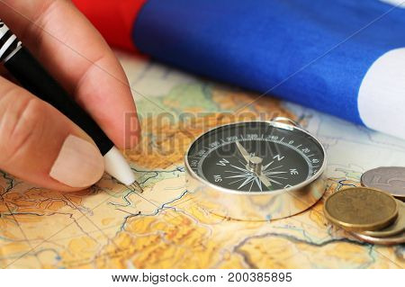 The Hand Writing, A Map, A Compass And Money, Travel Booking