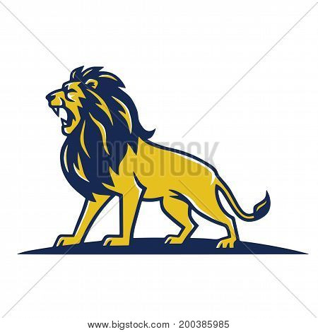 Lion Mascot Logo Roaring Vector Template Design