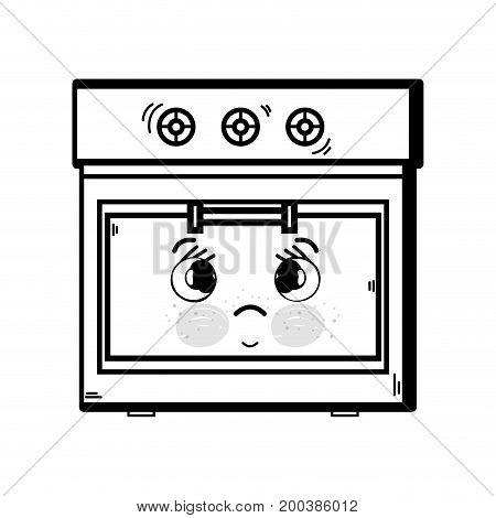 line kawaii cute tender oven technology vector illustration