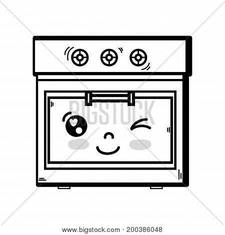 line kawaii cute funny oven technology vector illustration