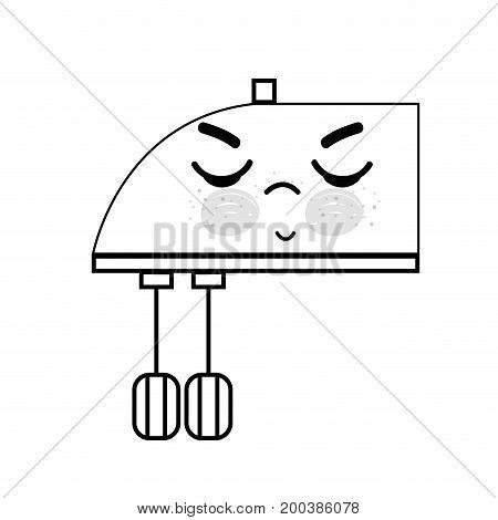 line kawaii cute angry mixer technology vector illustration