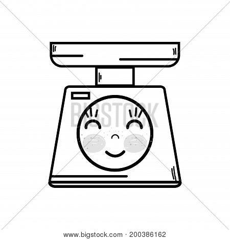 line kawaii cute happy oweight machine vector illustration
