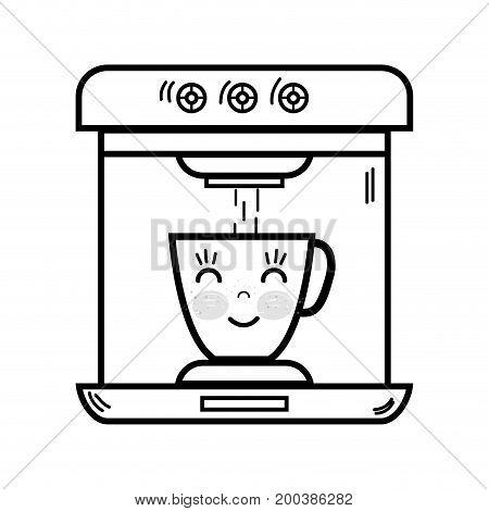 line kawaii cute happy coffee maker technology vector illustration
