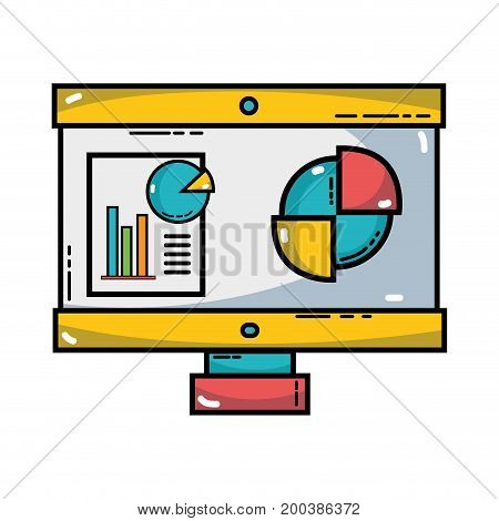 computer with company document and statistics diagram vector illustration,