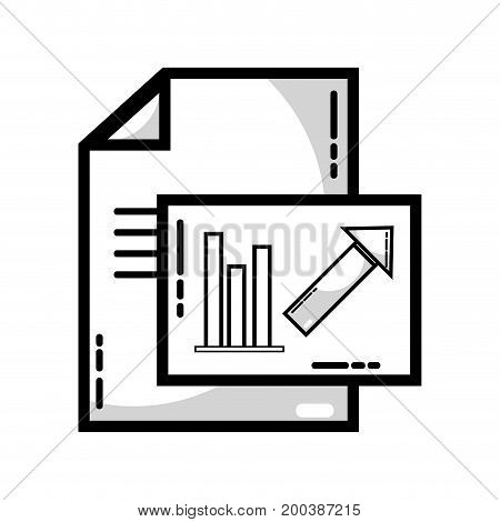 line document with statistics bar diagram graphy vector illustration