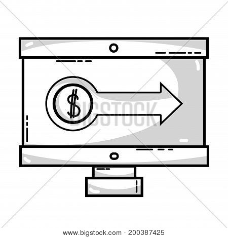 line, computer with company document and statistics diagram vector illustration,
