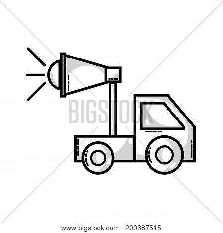 line trunk with megaphone to company strategy business vector illustration