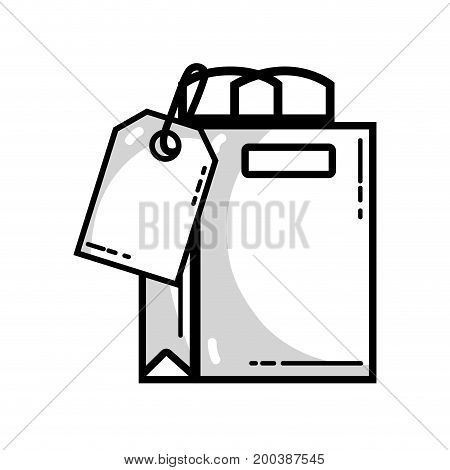 line shopping bag with tag to marketing strategy vector illustration