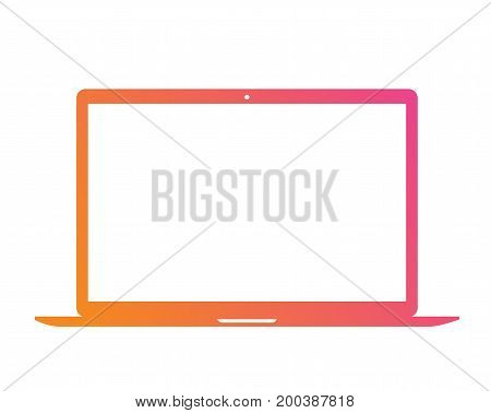 Vector Gradient Pink To Orange Flat Laptop Computer Icon