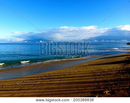 Peaceful Morning Walk - Kaanapali Beach, Lahaina, Maui, Hawaii.