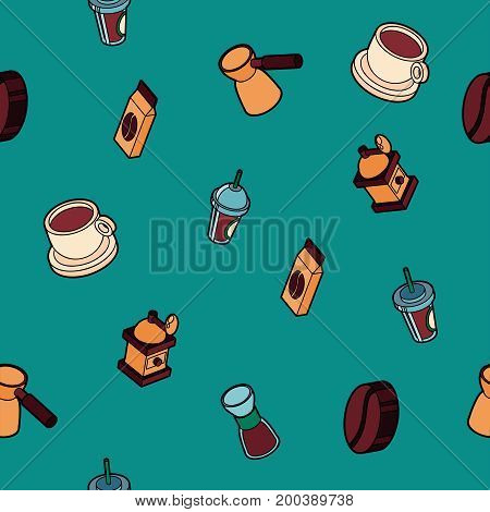 Coffee colored outline isometric pattern. Coffee design. Vector illustration, EPS 10
