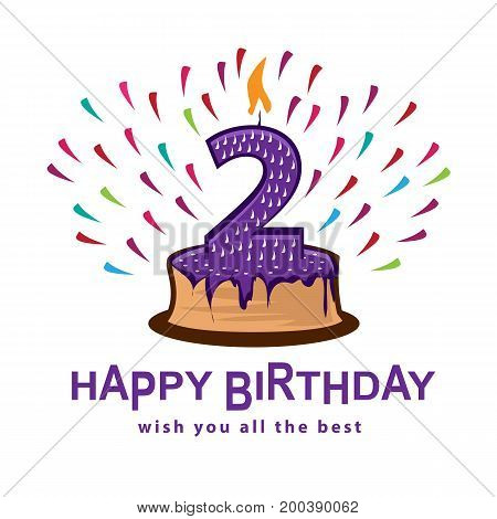 playful  birthday illustration, cake with number two, illustration design, isolated on white background