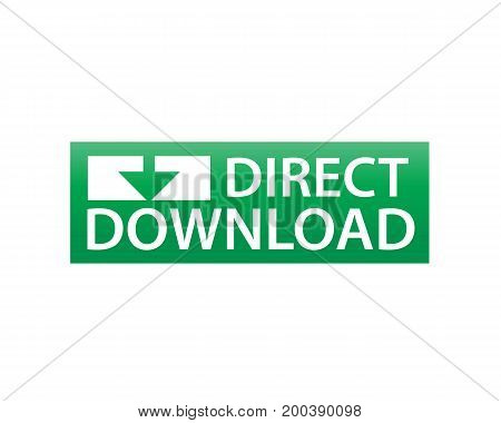 direct download with an arrow, sign design, isolated on white background