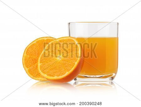 Orange juice in a glass and orange slices isolated on white background.