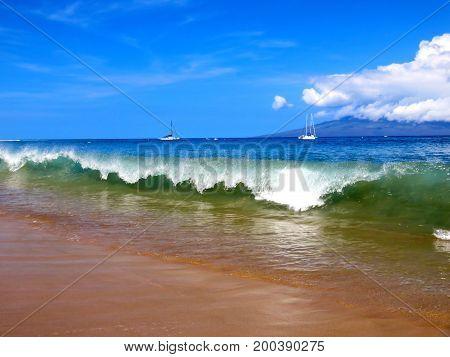 Powerful Turquoise Wave Crashing on Kaanapali Beach, Lahaina, Maui, Hawaii.