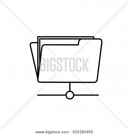 line folder file data center server vector illustration
