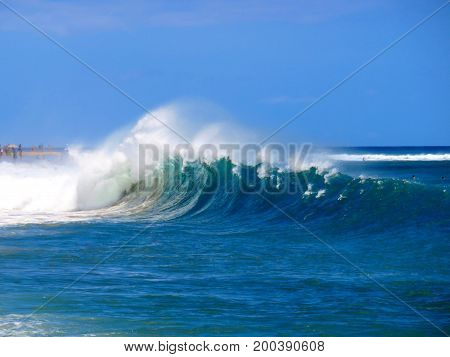 Spectacular Powerful Shore Break on Kaanapali Beach, Lahaina, Maui, Hawaii.
