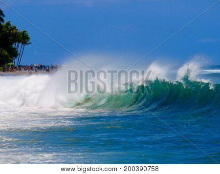 Spectacular Powerful Shore Break on Kaanapali Beach, Lahaina, Maui, Hawaii.