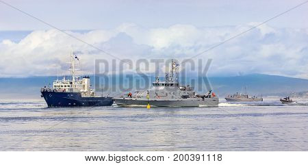 Naval military exercises in the Pacific ocean (seizure of a ship with hostages) poster