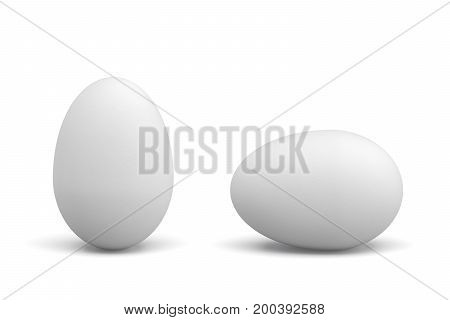 3d rendering of one lying and one standing white chicken eggs on white background. Protein diet. Cooking ingredients. Farming and agriculture products.
