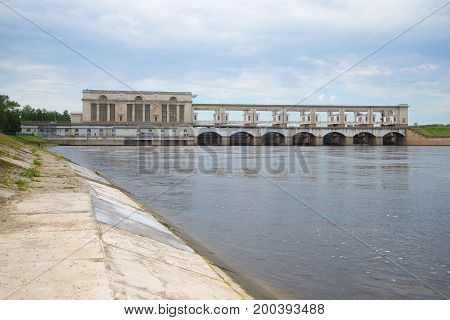 Dam of the Uglich hydropower plant on a July day. Uglich, Russia
