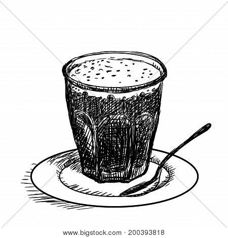 Hand drawn sketch of cup of coffee Black and White simple line Vector Illustration for Coloring Book - Line Drawn Vector