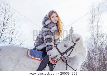 Nice Girl And White Horse In A Forest In A Winter