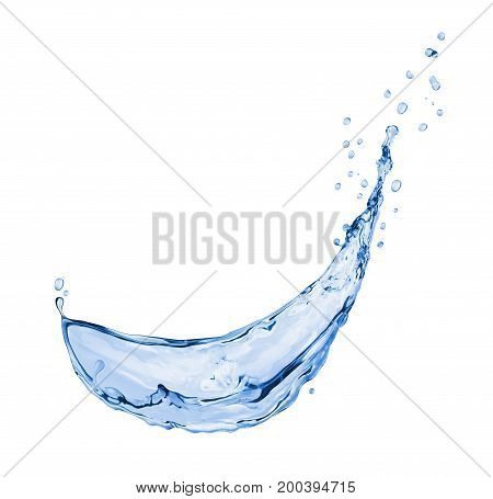 Splash of blue water isolated on white background