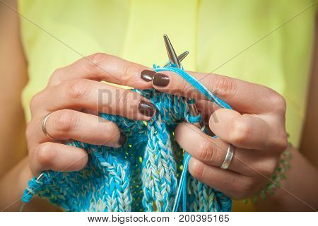 Close Up Woman Knitting