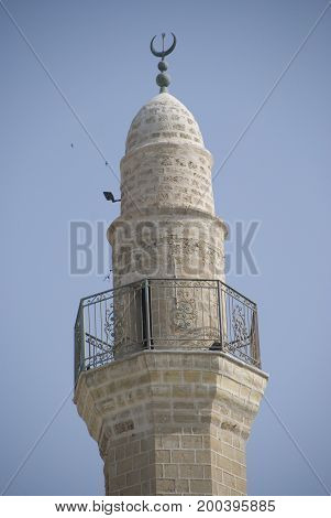 Top of a Minaret of mosque in Jerusalem, Isreal